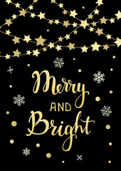 merry and bright handwriting xmas quote greeting card background in black and gold colors with hanging stars shapes festive garland on rope strings