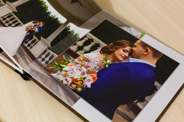 Pages of wedding photobook or wedding album on white background