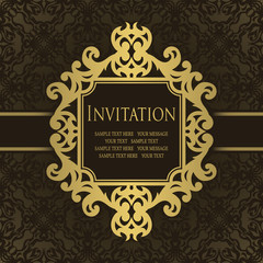 Vintage invitation with frame. Can be used as wedding invitation