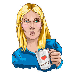 Portrait of young beautiful woman c cup of coffee. Vector illustration.