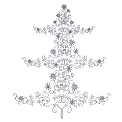 Stylised doodle style hand drawn monochrome christmas tree stock vector illustration for design