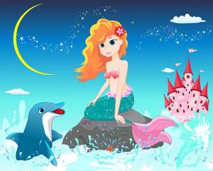 Poster Voor kinderen Mermaid and dolphin