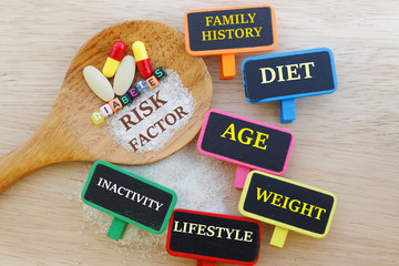 Diabetes risk factors concept.