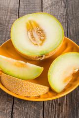 Sliced melon on plate