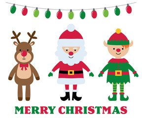 Christmas isolated cartoon characters, greeting card