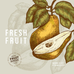 Pear fruit design template. Engraved style illustration. Vector illustration