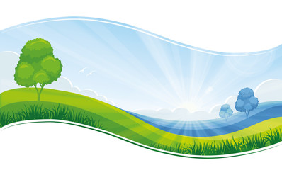 Fresh morning summer or spring landscape, green meadow, blue sky - vector background