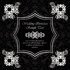 Invitation with frame and floral elements on vintage background