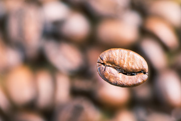 The coffee bean on blurred background