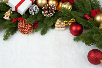 christmas decoration as background, gifts, xmas ball, cone and other object on white blank space fur, holiday concept, place for text