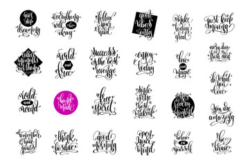 Poster Positive Typography set of 25 hand lettering positive quotes, motivation and inspira