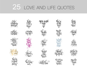 set of 25 love and life quotes, motivation and inspiration phras