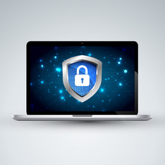 Safety Concept digital cyber security, Protect with Shield armor global network on laptop