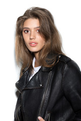 attractive girl in a black leather jacket