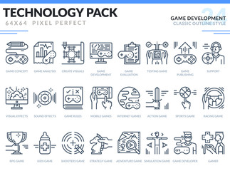 Game Development Icons Set. Technology outline icons pack. Pixel perfect thin line vector icons for web design and website application.