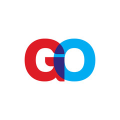 Initial letter GO, overlapping transparent uppercase logo, modern red blue color