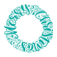 Merry Christmas hand-lettering text written in a circle. Handmade vector calligraphy collection Scandinavian style