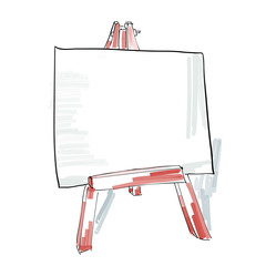 easel with blank canvas doodle style, sketch illustration