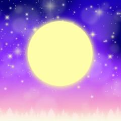 夜明けの満天の星空と満月