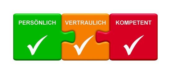 3 Puzzle Buttons zeigen Persönlich Vertraulich Kompetent