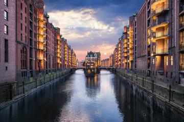 Sunset at the Wasserschloss in Hamburg Hafencity