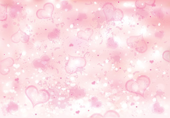 Vector pink bokeh  background with hearts.