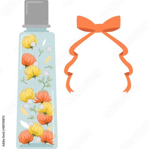 ハーバリウムのイラスト角型瓶オレンジfotoliacom の ストック
