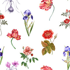 Flowers background. Seamless pattern.