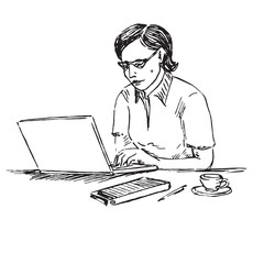 Businesswoman working on computer,  hand drawn doodle, sketch in pop art style, black and white vector illustration