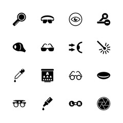 Optometry - Expand to any size - Change to any colour. Flat Vector Icons - Black Illustration on White Background.