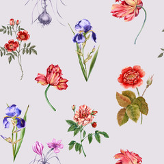 Flowers background. Seamless pattern.