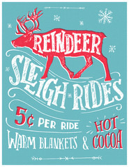 Old fashioned reindeer sleigh retro poster. Hand lettering advertising sign. Vintage hand drawn typography with the silhouette of a reindeer. Winter entertainment for the whole family
