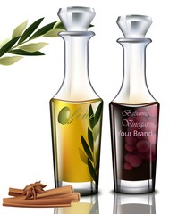 Olive oil and balsamic vinegar Vector. Realistic detailed illustrations