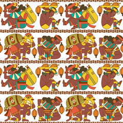 Aztec cacao seamless pattern for chocolate package design. Vector illustration.