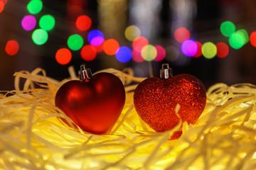 christmas decoration  under  blurred background.