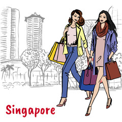 woman and man with shopping bags on Orchard Road