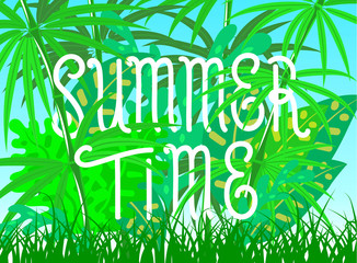 Summer time lettering poster. Vector illustration.