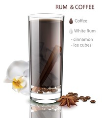 Rum and coffee drink with cinnamon flavor Vector. Beverage mix in Realistic glasses