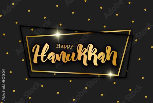 Happy hanukkah traditional jewish holiday lettering on black happy hanukkah traditional jewish holiday lettering on black festive background vector illustration gold m4hsunfo