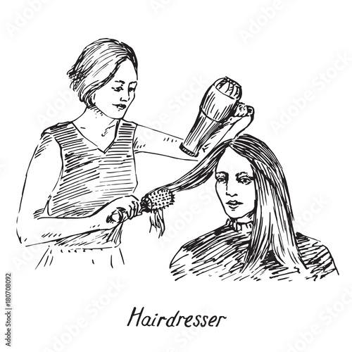 Hairdresser At Work Drying Hair With Round Brush And Dryer Hand Drawn Doodle