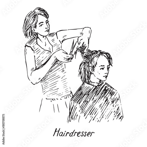 Hairdresser At Work Hold Scissors And Prepare To Cut Hair Hand Drawn Doodle