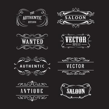 set western badge hand drawn blackboard banners vintage vector