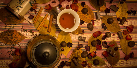 Autumn style Still life with tea and candies