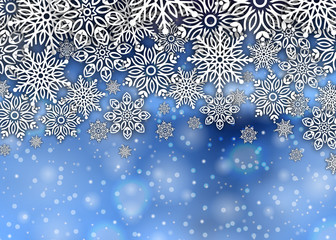 Merry christmas background snowflakes