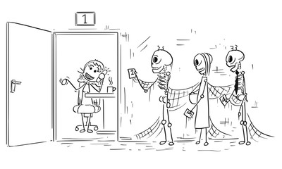 Cartoon Illustration of Three Skeletons of People Dying Waiting in Queue or Line for Clerk to End Phone Call
