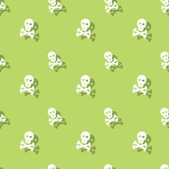 Skull And Bones Halloween Seamless Pattern