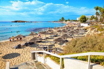 Wall Murals Cyprus View of turquoise water Nissi beach in Aiya Napa, Cyprus. Ayia Napa coastline.