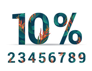 set of numbers 0-9 with percent lettering handmade with leaves and flower tropical decoration. For Sale discount, Poster Banner Background