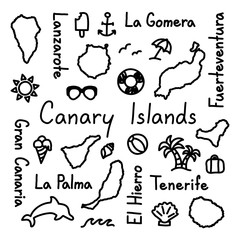 Canary Islands hand drawn doodle outline summer concept