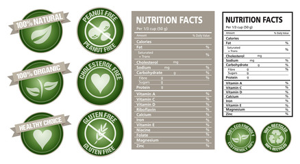 Nutrition fact and package label vector